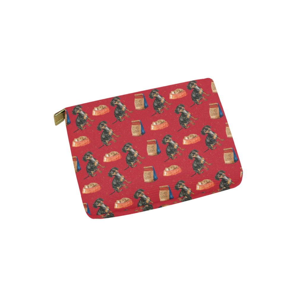 Dachshund Water Colour Pattern No.2 Carry-All Pouch 6x5 - TeeAmazing