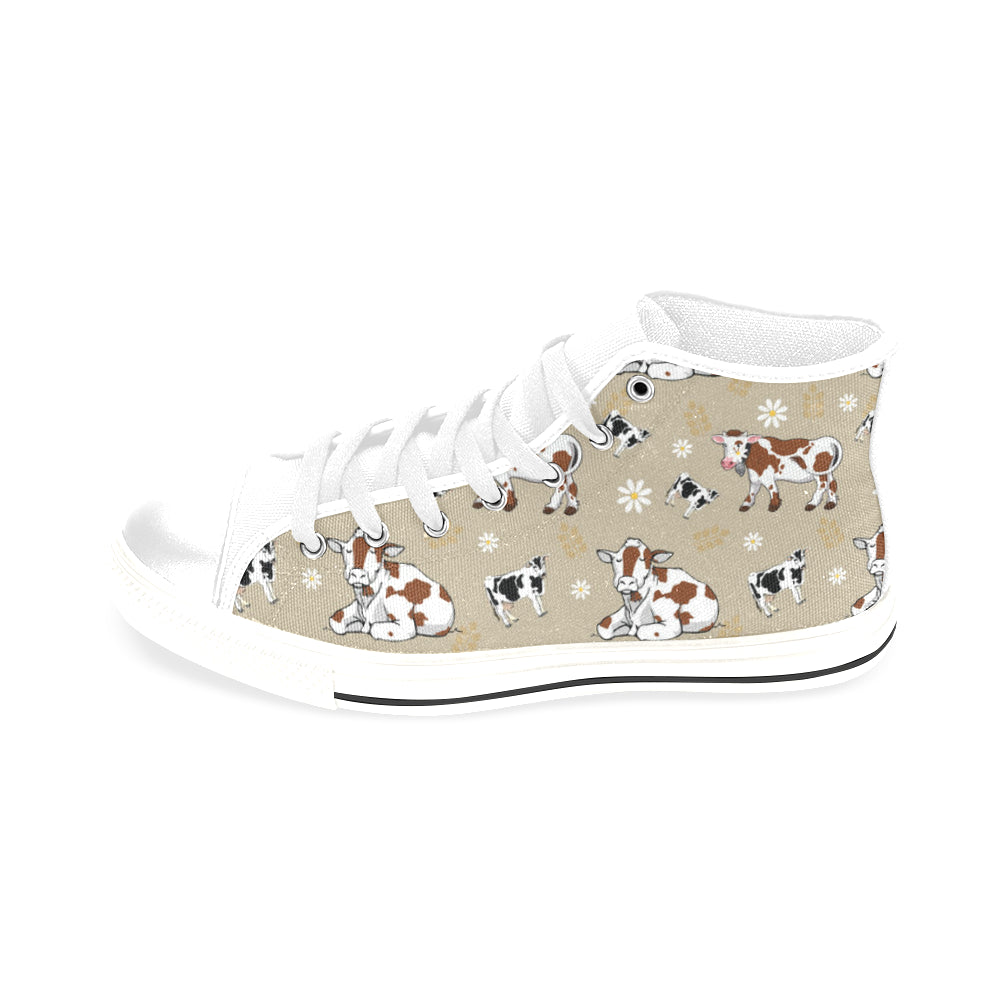 Cow Pattern White Men's Classic High Top Canvas Shoes /Large Size - TeeAmazing