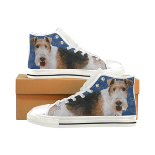 Wire Hair Fox Terrier Dog White Men's Classic High Top Canvas Shoes - TeeAmazing