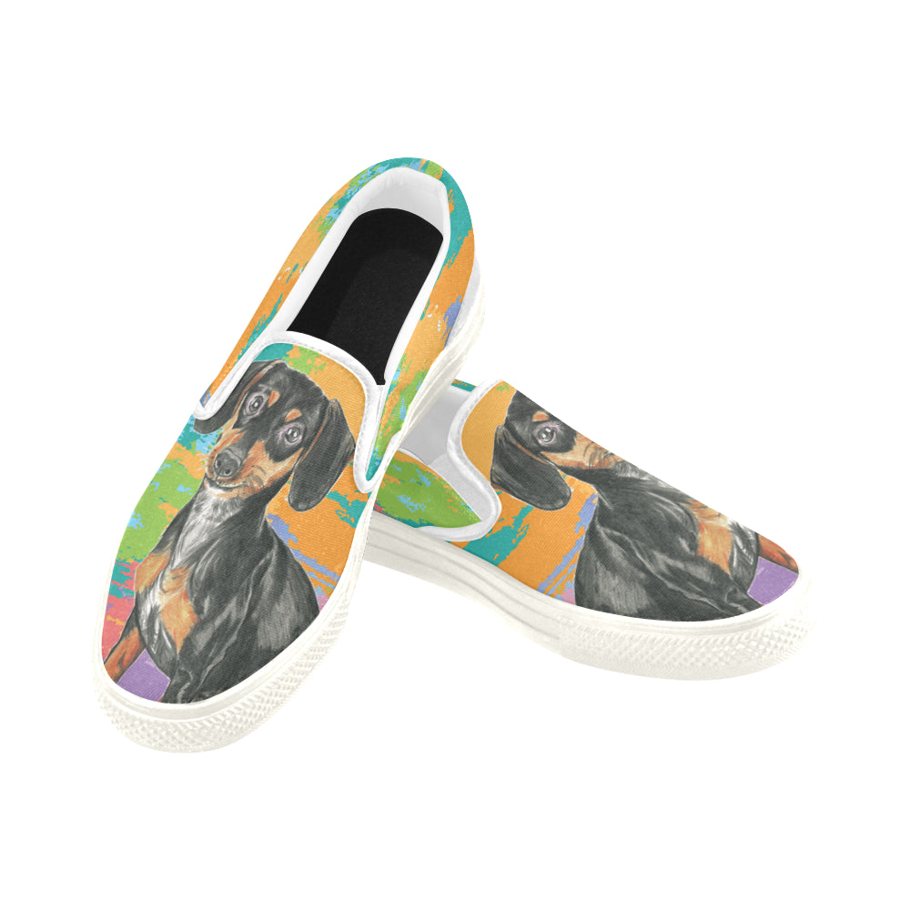 Dachshund Water Colour No.2 White Women's Slip-on Canvas Shoes - TeeAmazing