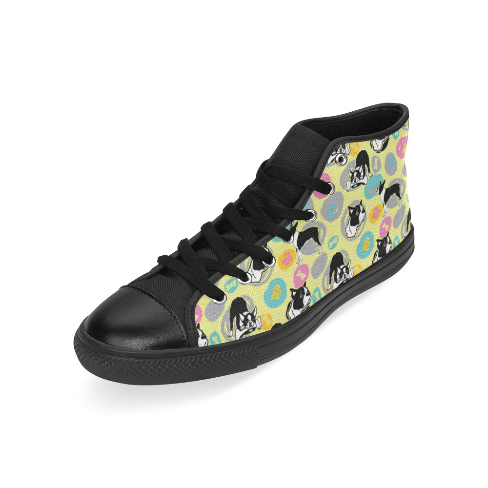 Boston Terrier Pattern Black High Top Canvas Women's Shoes/Large Size - TeeAmazing