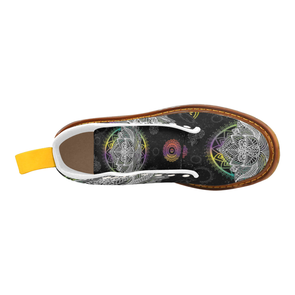 Lotus and Mandalas White Boots For Men - TeeAmazing