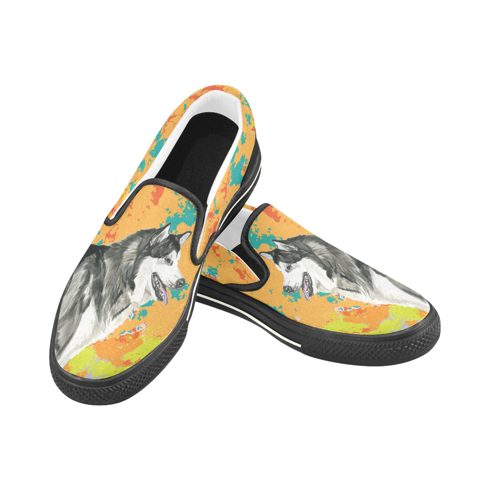 Alaskan Malamute Water Colour No.2 Black Women's Slip-on Canvas Shoes/Large Size (Model 019) - TeeAmazing
