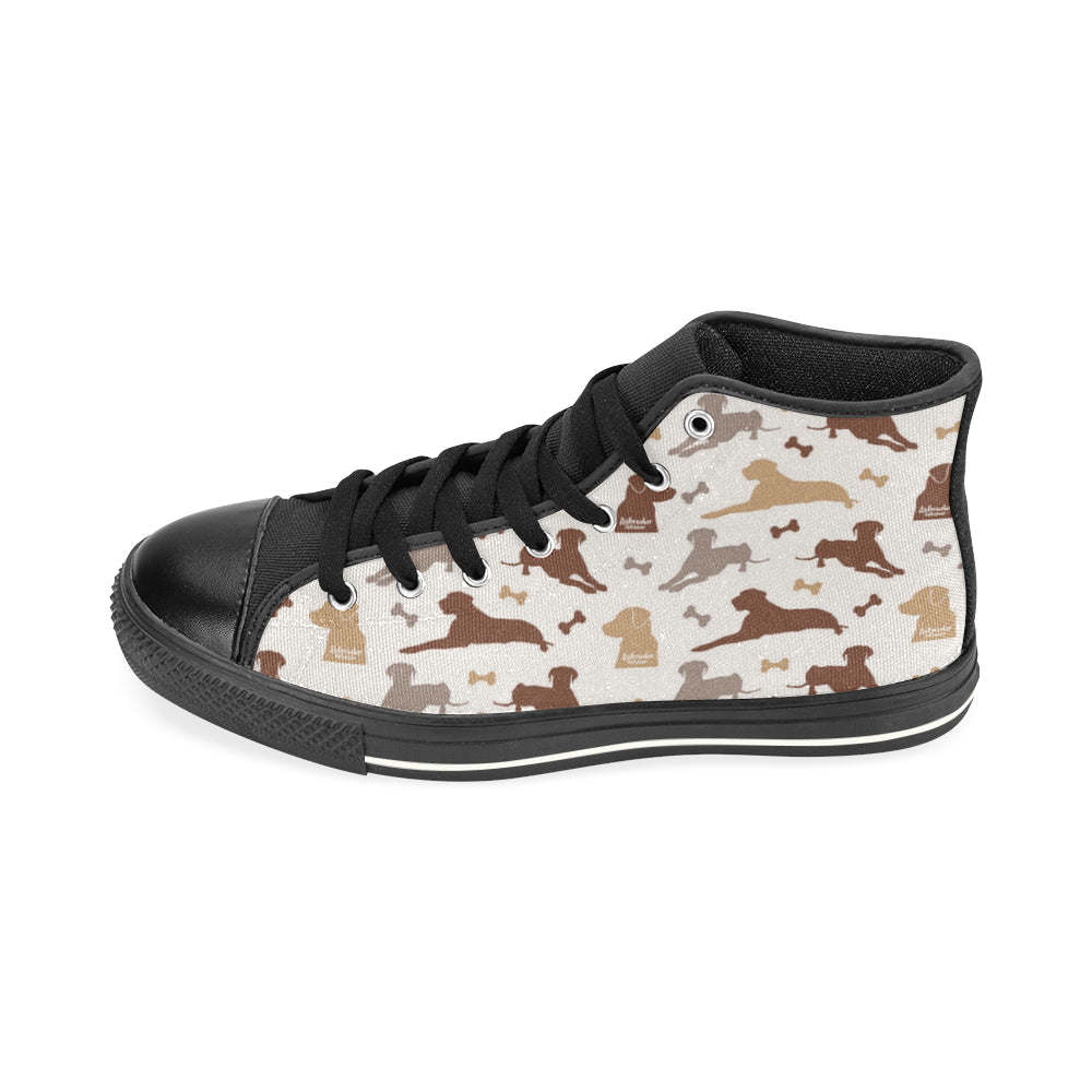 Labrador Retriever Pattern Black High Top Canvas Shoes for Kid - TeeAmazing