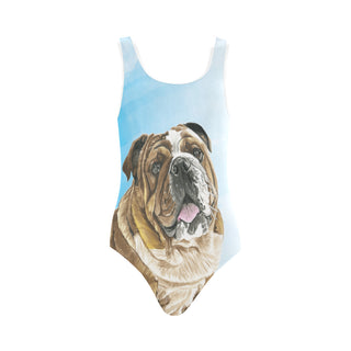 English Bulldog Water Colour No.1 Vest One Piece Swimsuit - TeeAmazing