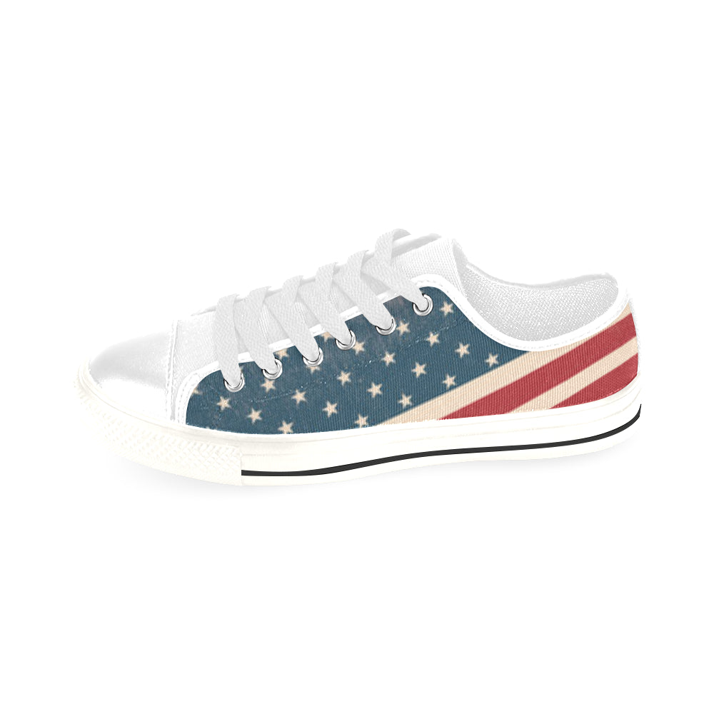 4th July V2 White Men's Classic Canvas Shoes/Large Size - TeeAmazing