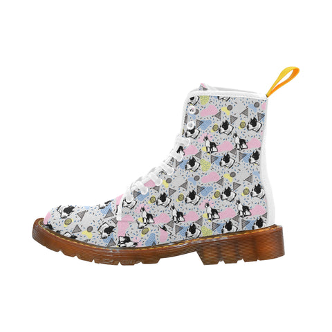 American Staffordshire Terrier Pattern White Martin Boots For Women - TeeAmazing