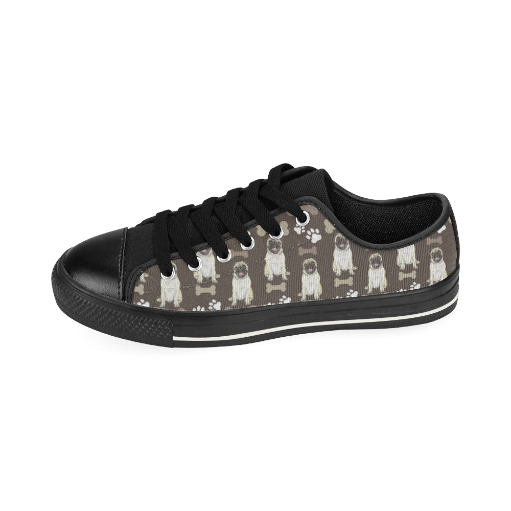 Pug Water Colour Pattern No.1 Black Canvas Women's Shoes/Large Size - TeeAmazing
