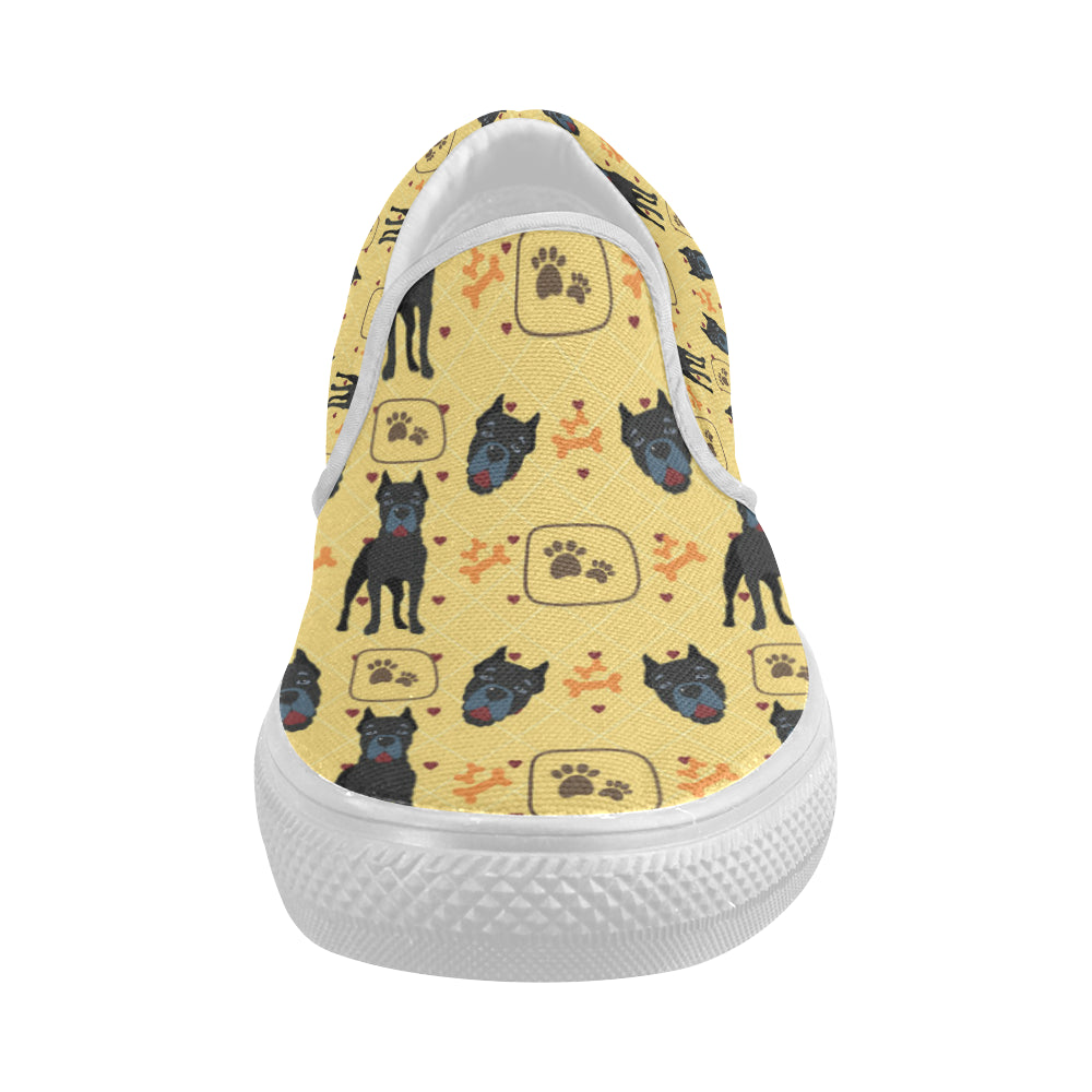 Cane Corso Pattern White Women's Slip-on Canvas Shoes - TeeAmazing