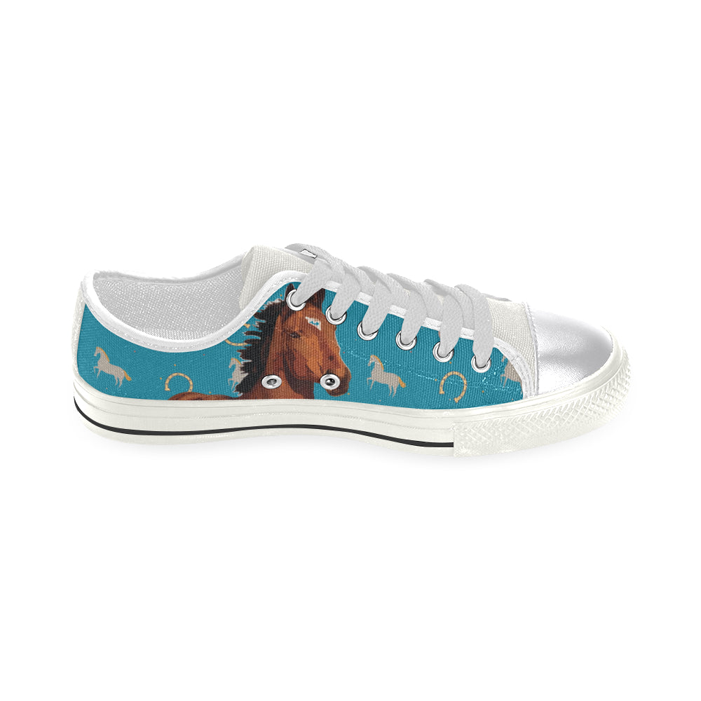 Horse White Women's Classic Canvas Shoes - TeeAmazing