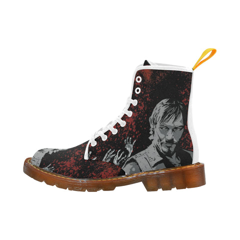 Daryl and Zombie's Hands White Martin Boots For Women - TeeAmazing