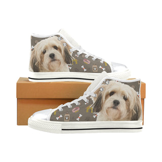Cavachon Dog White High Top Canvas Women's Shoes/Large Size (Model 017) - TeeAmazing