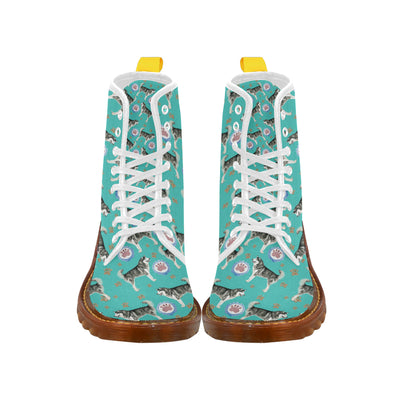 Alaskan Malamute Water Colour Pattern No.1 White Martin Boots For Women - TeeAmazing