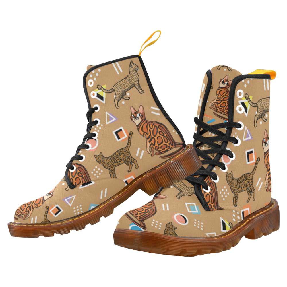 Bengal Cat Black Boots For Women - TeeAmazing