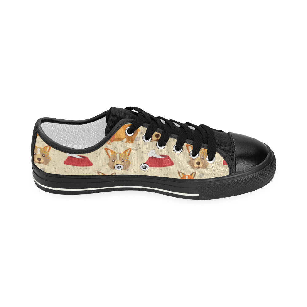 Corgi Pattern Black Women's Classic Canvas Shoes - TeeAmazing