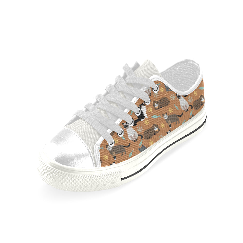 Cat Pattern White Men's Classic Canvas Shoes - TeeAmazing