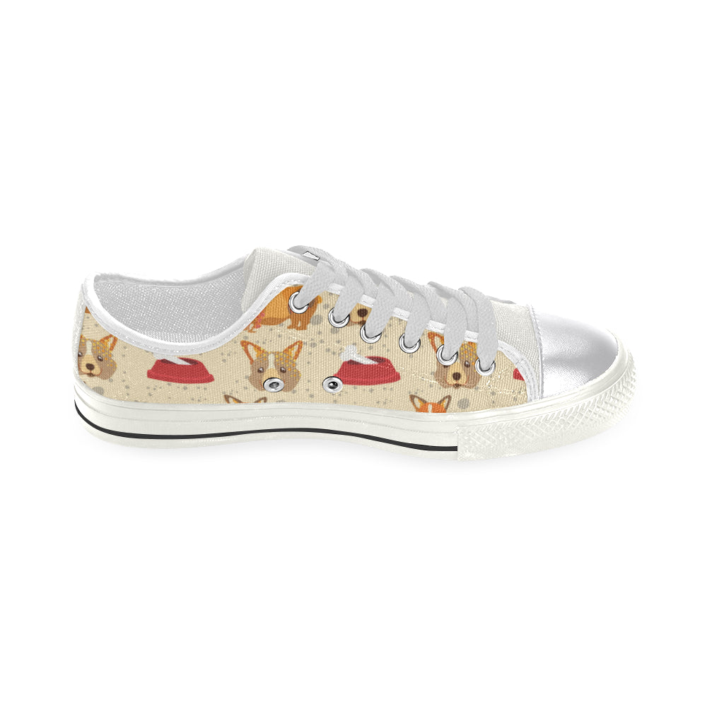 Corgi Pattern White Women's Classic Canvas Shoes - TeeAmazing