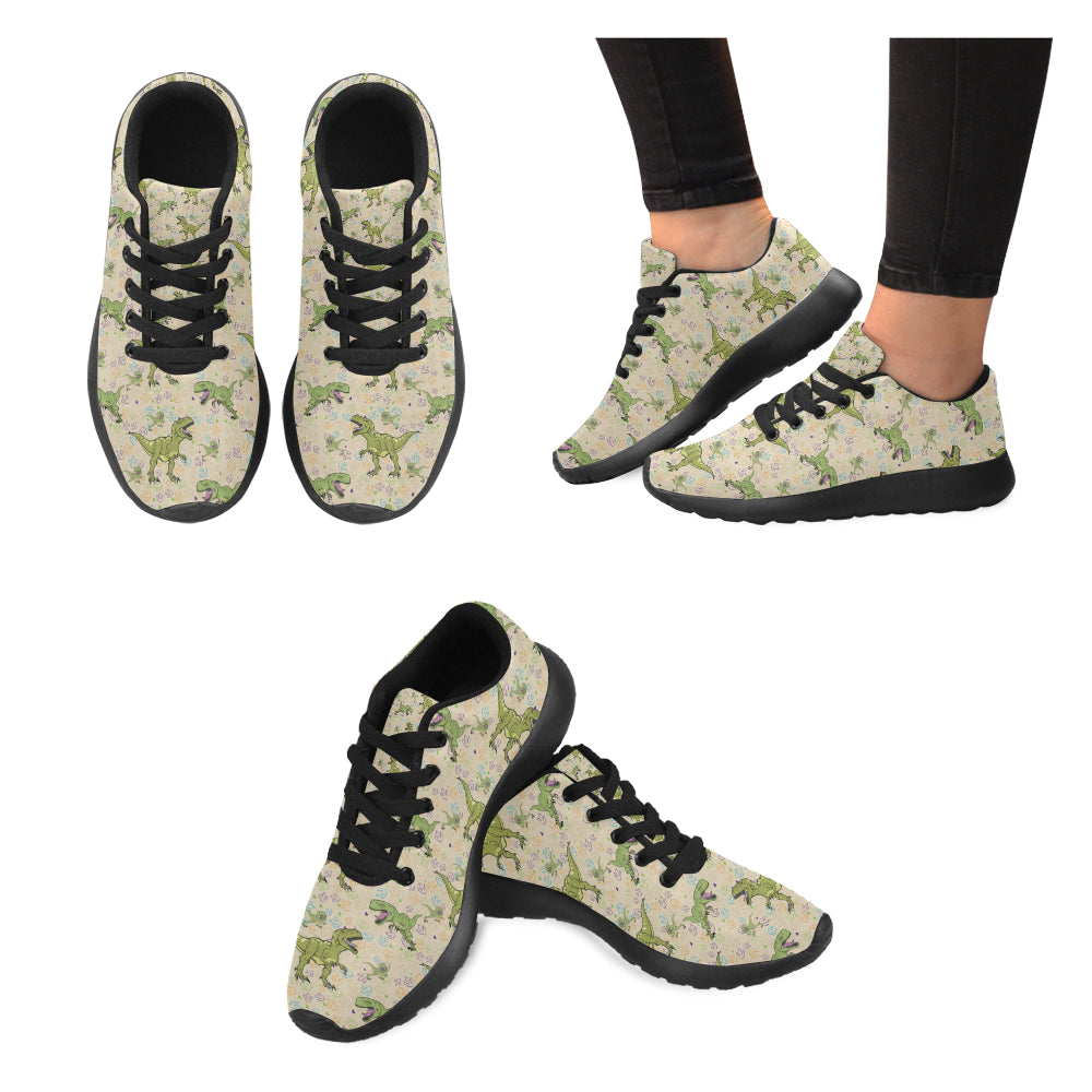 T-Rex Pattern Black Sneakers Size 13-15 for Men - TeeAmazing