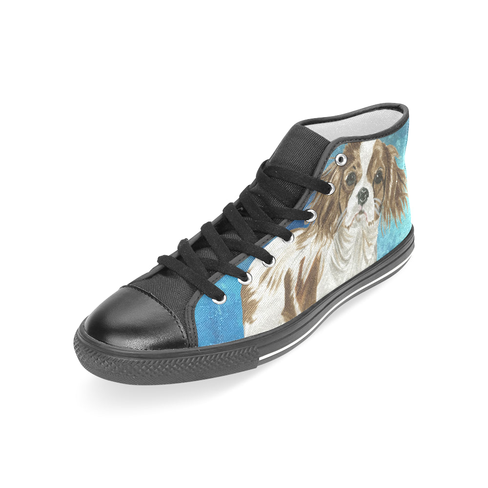 Cavalier King Charles Spaniel Water Colour No.1 Black Women's Classic High Top Canvas Shoes - TeeAmazing