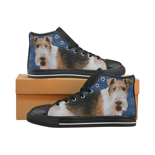 Wire Hair Fox Terrier Dog Black Men's Classic High Top Canvas Shoes - TeeAmazing
