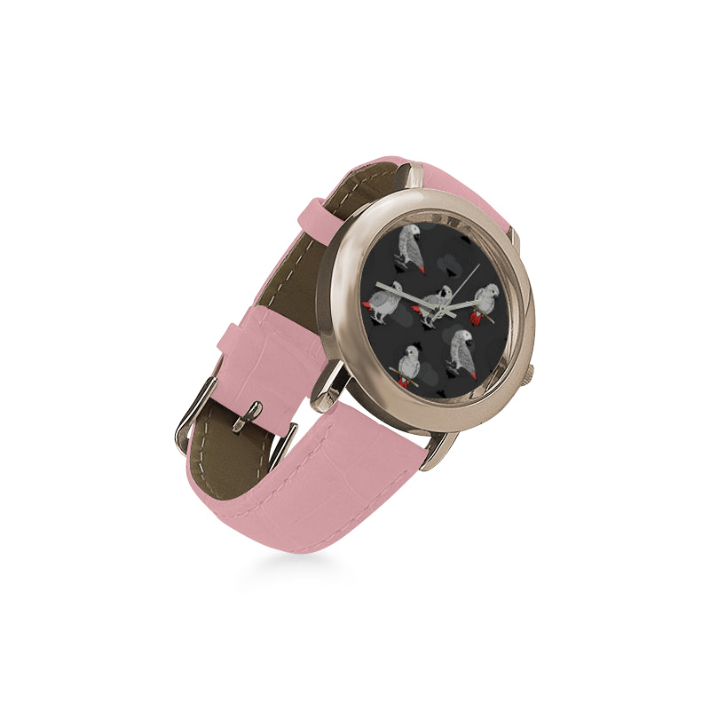 African Greys Women's Rose Gold Leather Strap Watch - TeeAmazing