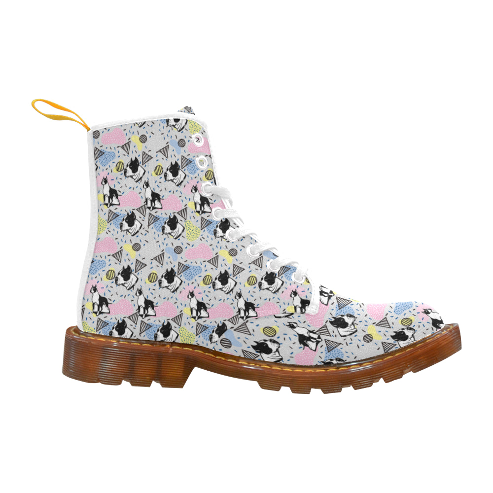 American Staffordshire Terrier Pattern White Boots For Women - TeeAmazing