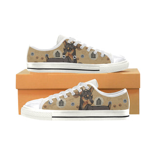 Miniature Pinscher Dog White Canvas Women's Shoes/Large Size - TeeAmazing