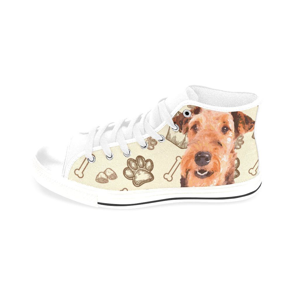 Airedale Terrier White Men's Classic High Top Canvas Shoes /Large Size - TeeAmazing