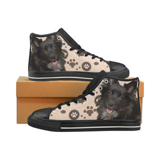 Schip-A-Pom Dog Black High Top Canvas Women's Shoes/Large Size (Model 017) - TeeAmazing