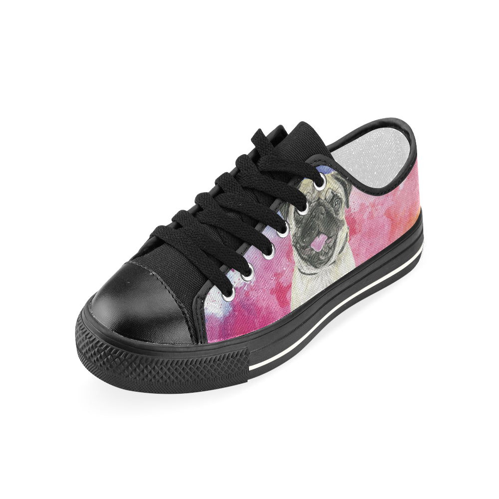 Pug Water Colour No.1 Black Women's Classic Canvas Shoes - TeeAmazing