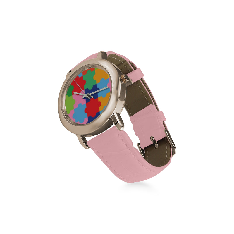 Autism Women's Rose Gold Leather Strap Watch - TeeAmazing