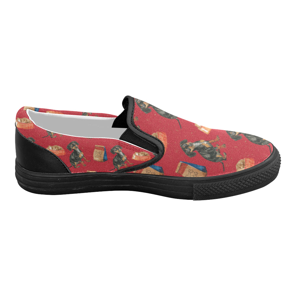 Dachshund Water Colour Pattern No.2 Black Women's Slip-on Canvas Shoes - TeeAmazing