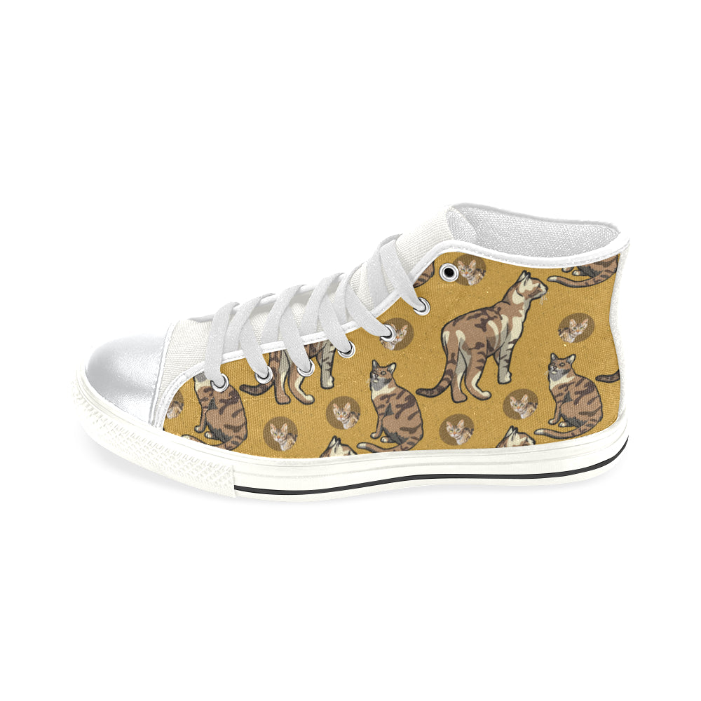 Sokoke White High Top Canvas Shoes for Kid - TeeAmazing