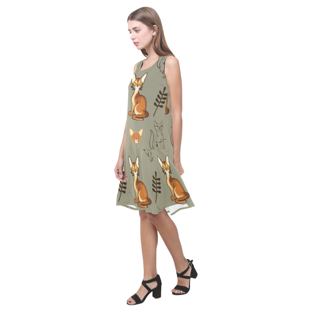 Abyssinian Sleeveless Splicing Shift Dress(Model D17) - TeeAmazing