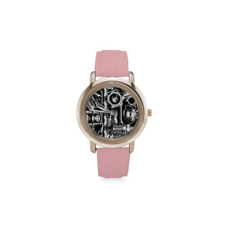 Biker Engine Women's Rose Gold Leather Strap Watch - TeeAmazing