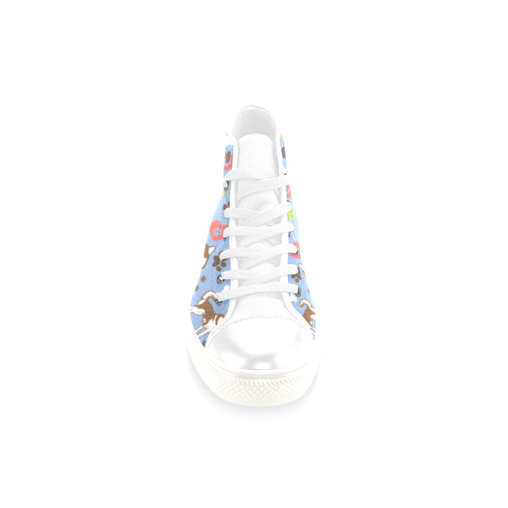 Alaskan Malamute Pattern White Men's Classic High Top Canvas Shoes /Large Size - TeeAmazing