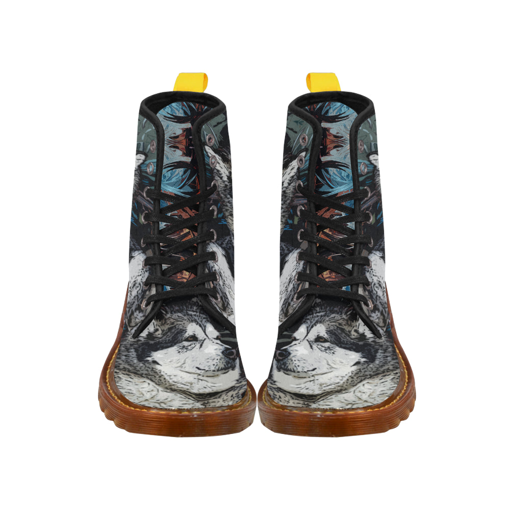 Alaskan Malamute Black Boots For Women - TeeAmazing