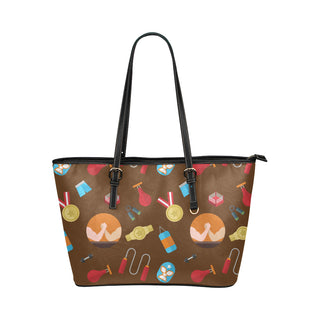 Wrestling Pattern Leather Tote Bag/Small - TeeAmazing