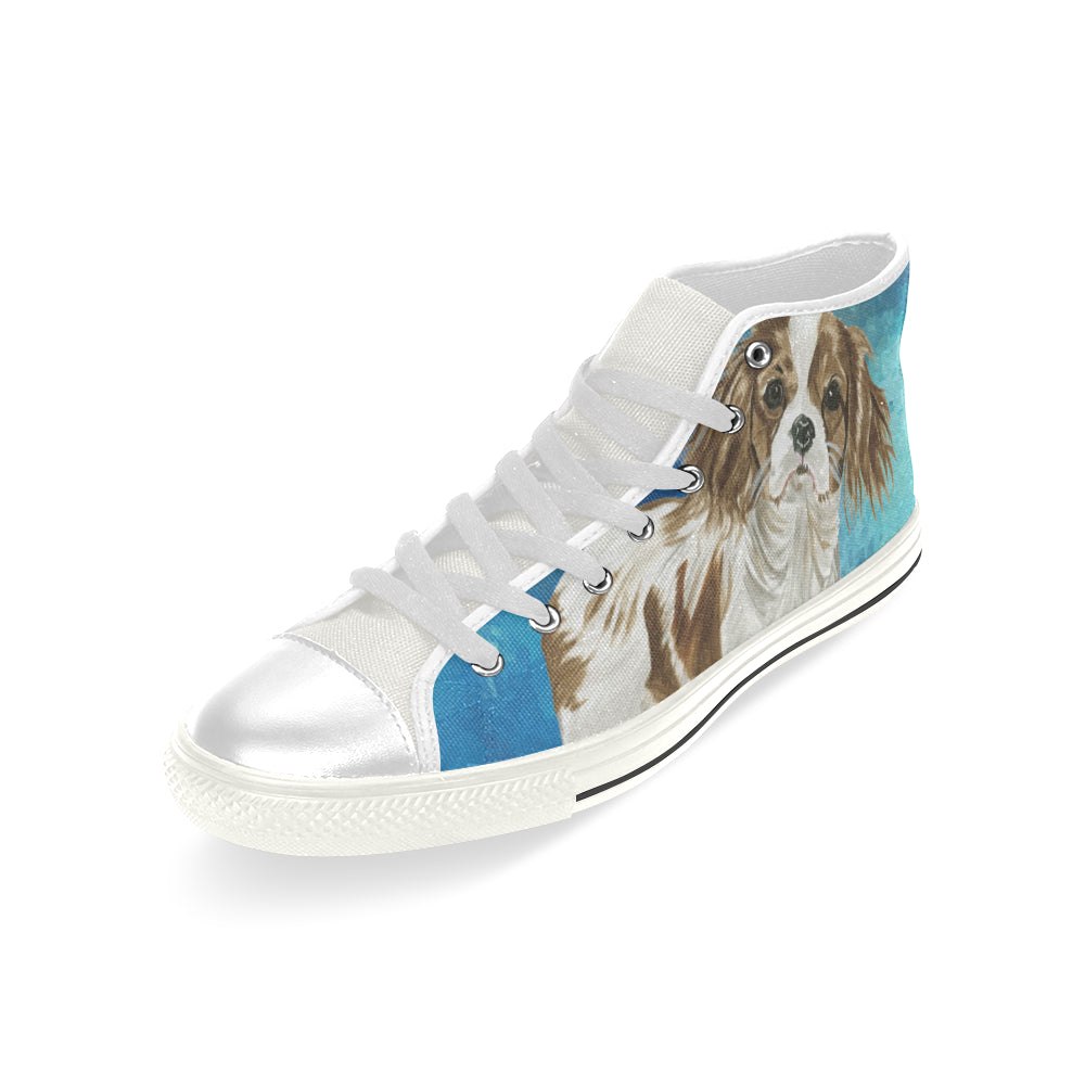 Cavalier King Charles Spaniel Water Colour No.1 White Men's Classic High Top Canvas Shoes - TeeAmazing