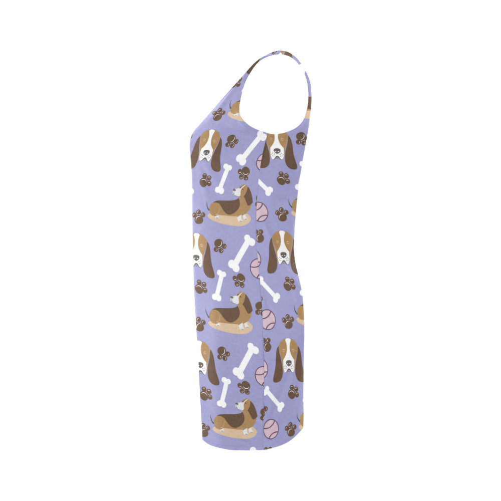 Basset Hound Pattern Medea Vest Dress - TeeAmazing