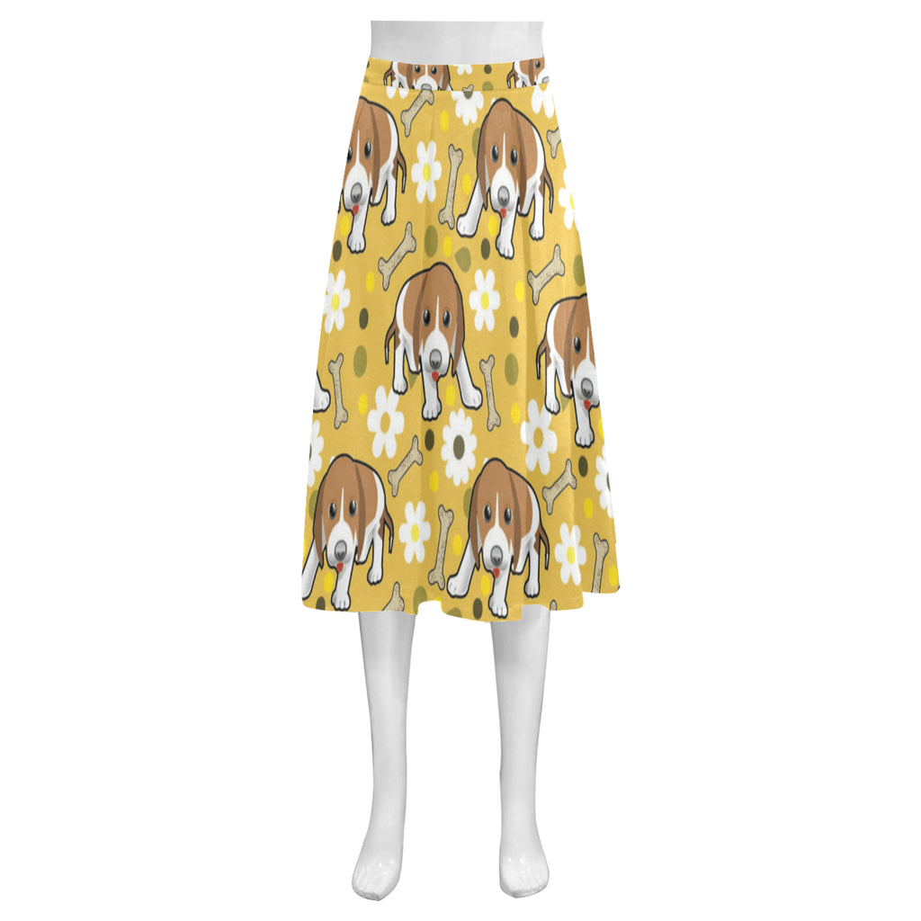Beagle Mnemosyne Women's Crepe Skirt (Model D16) - TeeAmazing