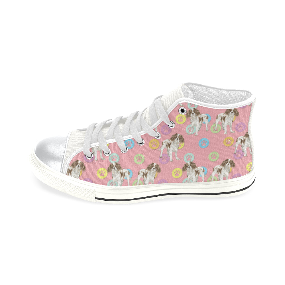 Cavalier King Charles Spaniel Water Colour Pattern No.1 White High Top Canvas Women's Shoes/Large Size - TeeAmazing