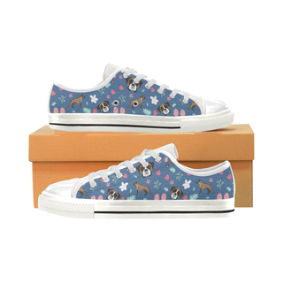 Boxer Flower White Canvas Women's Shoes/Large Size (Model 018) - TeeAmazing