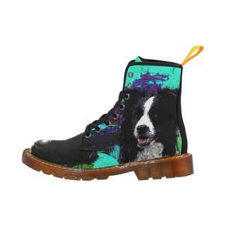 Border Collie Painting Black Martin Boots For Women Model 1203H - TeeAmazing