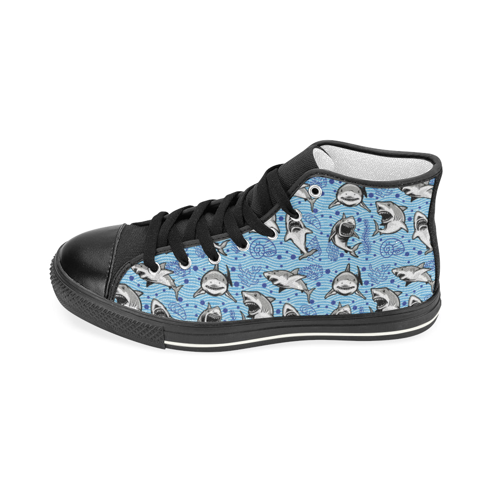 Shark Black Men's Classic High Top Canvas Shoes - TeeAmazing