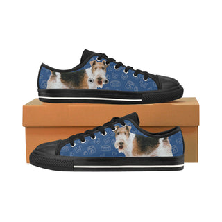 Wire Hair Fox Terrier Dog Black Men's Classic Canvas Shoes/Large Size - TeeAmazing