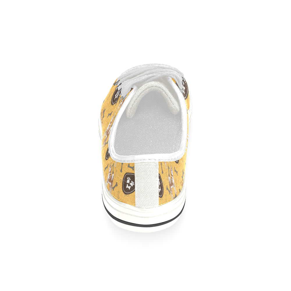 Akita Pattern White Canvas Women's Shoes/Large Size (Model 018) - TeeAmazing
