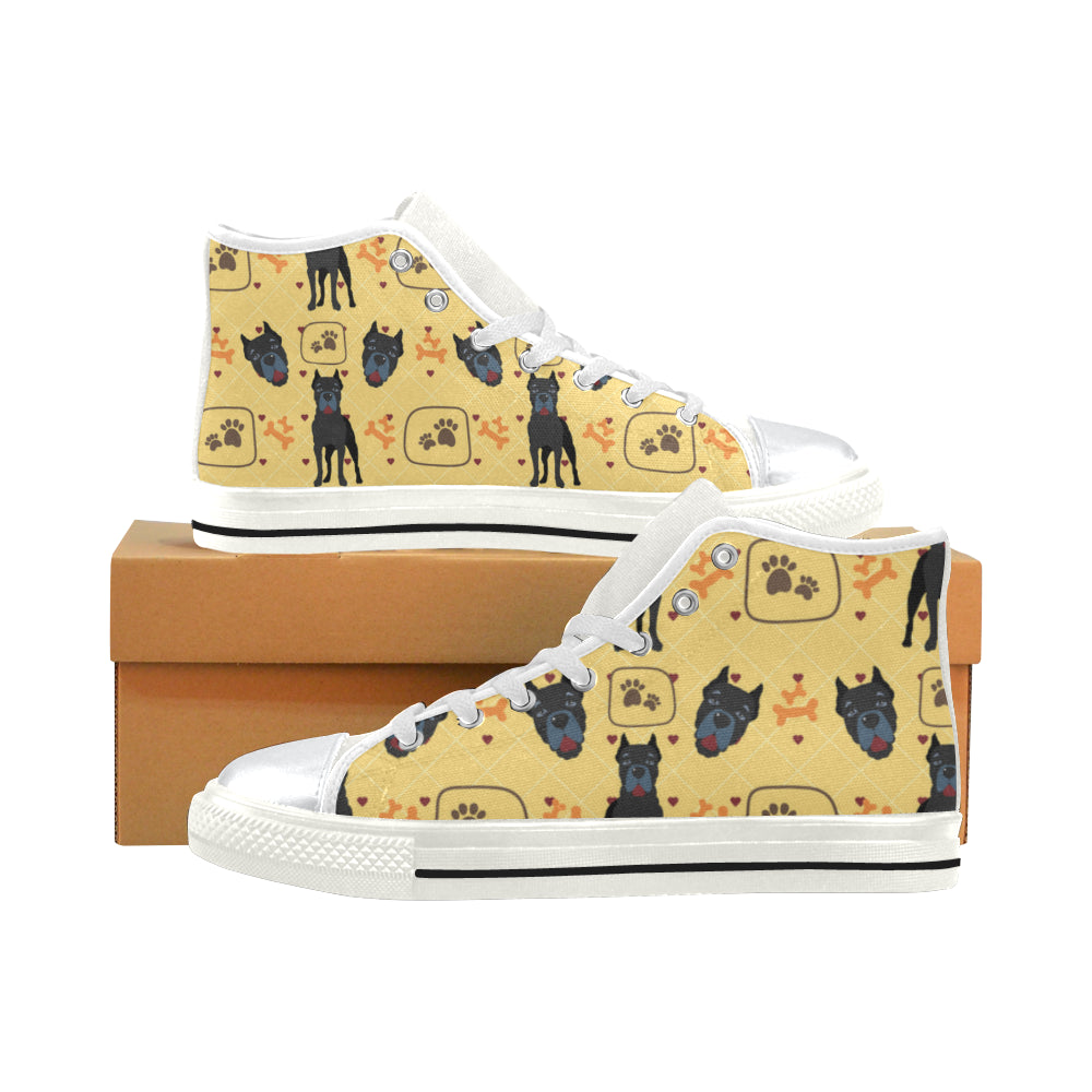 Cane Corso Pattern White High Top Canvas Women's Shoes/Large Size - TeeAmazing