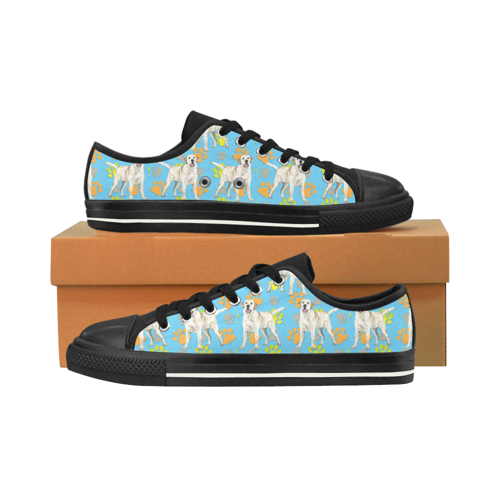 Labrador Retriever Water Colour Pattern No.1 Black Men's Classic Canvas Shoes/Large Size - TeeAmazing