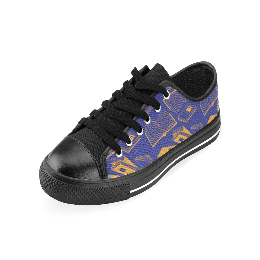Book Pattern Black Low Top Canvas Shoes for Kid - TeeAmazing